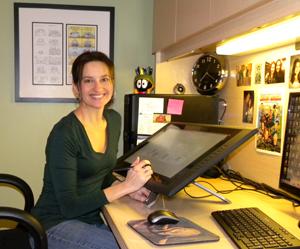 Terri working at desk